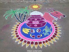 Contest entry Pongalo pongal! Margazhi dew drops kolam contest 2016 | www.iKolam.com Rangoli Designs Latest, Simple Rangoli Designs Images, Rangoli Designs Flower, Rangoli Patterns, Rangoli Border Designs, Rangoli Ideas, Rangoli Designs Diwali, Rangoli Designs With Dots, Flower Rangoli