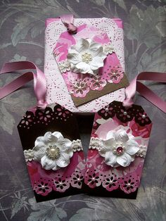 Set of 3 Assorted Pretty Floral Handmade Gift Tags. £2.80