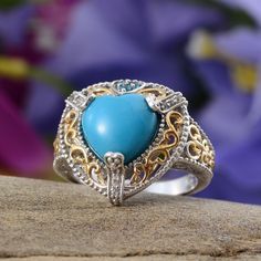 Arizona Sleeping Beauty Turquoise, Malgache Neon Apatite, and White Topaz Ring in 14K Yellow Gold and Platinum Overlay Sterling Silver (Nickel Free)