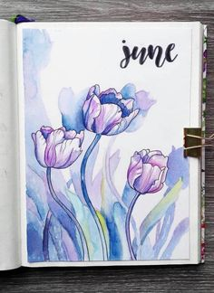 May 2019 - Beautiful watercolor June bullet journal cover by ig Bullet Journal June, Bullet Journal Themes, Bullet Journal Spread, Bullet Journal Layout, Bullet Journals, Junk Journal, Journal Inspiration, Journal Ideas, Bullet Journal Watercolour
