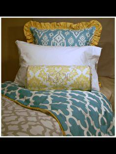 Beautiful dorm bedding in coastal colors.