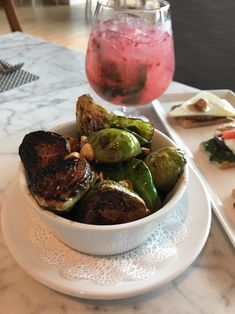 These glazed brussels sprouts wit hazelnuts at Fig & Olive Houston were so tasty! Find out more about this popular restaurant in Houston on Hipster Hotspots. Houston Restaurants, Olive Bread, Mediterranean Dishes, Fig, Brunch, Tasty, Brussels Sprouts, Dinner, Vegetables