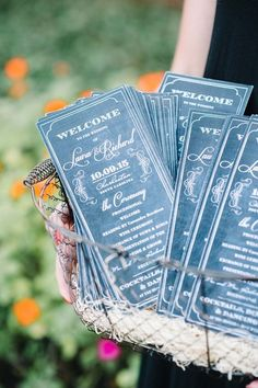 Vintage-inspired wedding stationery idea - black + white ceremony programs {Aaron and Jillian Photography}