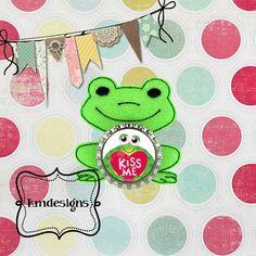 Bottle cap Princess Frog Feltie ITH Embroidery design file