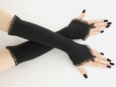 long black fingerless gloves arm warmers goth by FashionForWomen