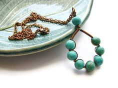 Turquoise Hoop Copper Necklace Wire Wrapped with by heversonart, #bohemian #gypsy #jewelry #blue #teal #rustic