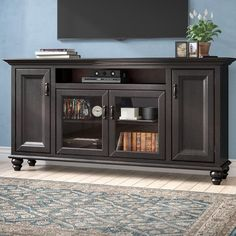 Darby Home Co Velarde Solid Wood TV Stand for TVs up to 88 inches Colour: European Coffee My Living Room, Living Room Furniture, Media Furniture, Industrial Furniture, Open Shelving, Adjustable Shelving, Tv Stand Set, Solid Wood Tv Stand, Arched Doors