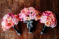 pink peonies and stripes