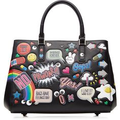 Anya Hindmarch All Over Stickers Leather Tote ($2,375) ❤ liked on Polyvore featuring bags, handbags, tote bags, multicolor, genuine leather tote, white handbags, tote purse, leather tote bags and handbags totes
