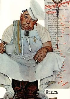 Pooped from making Thanksgiving Dinner...Norman Rockwell