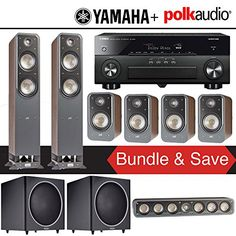 Polk Audio Signature S55 72Ch Home Theater Speaker System Walnut with Yamaha AVENTAGE RXA860BL 72Ch Network AV Receiver *** Read more reviews of the product by visiting the link on the image.Note:It is affiliate link to Amazon.