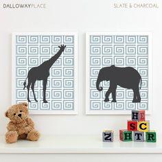 Baby Boy Nursery Art for Boys Room Decor, Baby Boy Gift for Boy, Boys Wall Art for Boy Nursery Decor Playroom Boys Art Safari - Two 8x10