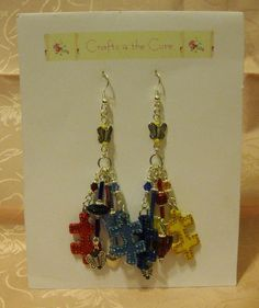 Puzzle Piece Autism Crystal Awareness Earrings by crafts4thecure ...