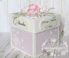 Exploding box komunijny Exploding Boxes, Explosion Box, Handicraft, Decorative Boxes, Lettering, Cards, Home Decor, Crafts, Artesanato