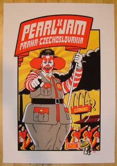 Pearl Jam w/ X - silkscreen concert poster (click image for more detail) Artist: Ames Design & Ward Sutton Venue: O2 Arena Location: Prague, Check Republic Concert Date: 7/2/2012 Edition: 215; signed