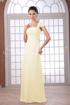 Name: #85101 - Floor-length Chiffon Dress With Capsleeves  SKU#: 85101  Silhouette: A-Line  Neckline: Straight  Train:   Fabric: Chiffon  Back Closure: Back Zipper  Body Shape: Hourglass, Pear, Rectangle  Sleeves: Half Sleeve  Season: Spring, Fall, Winter  Venue: Banquet, Destination, Garden  Weight: 0.70lbs / 0.32kgs