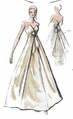 Elegant asymmetrical wedding gown design by Oleg Cassini.