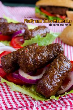 Turkish soft and juicy meatballs,,, Inegol kofte 300g ground beef 200g ground lamb 2 tbsp bread crumbs 3 tbsp water ½ tsp salt 1 tsp baking soda ½ tsp black pepper ¼ cup grated and squeezed onion Mix all except onion & black pepper in a large bowl, cover, rest it in refrigerator for 24 hours. Add grated onion and black pepper and mix. Make in finger shapes. Wait in refrigerator for 2 hours. Cook them in a cast iron pan flipping occasionally for about 5 minutes until brown. Do not overcook.