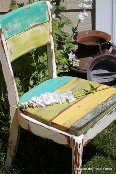 Beyond The Picket Fence: love her wood upholstered chair!!