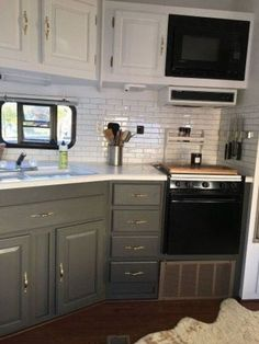 rv remodel before and after ; rv remodel on a budget ; rv remodel before and after wheels ; rv remodel before and after rv makeover ; rv remodel before and after motorhome Camper Kitchen, Remodeled Campers, Rv Living, Kitchen Remodel