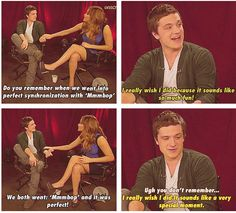 "What i love about this moment is the way jen tap josh in different ways 1st she is kicking him in his shoes and she is also tapping him in his arm just to get his attention..what is even more funny is jen pointed out in their MTV interview ""you even forgot mmbop"" when josh still continue to forget certain things about them and jen the only 1 keep remembering them how sweet but on MTV interview josh is right he did 1st meet her on her white dress not the pink one."