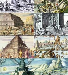Seven Wonders of the Ancient World: Great Pyramid of Giza Hanging Gardens of Babylon Temple of Artemis at Ephesus Statue of Zeus at Olympia Mausoleum at Halicarnassus Colossus of Rhodes Lighthouse of Alexandria Ancient Aliens, Ancient History, Mausoleum At Halicarnassus, Alexandre Le Grand, 6th Grade Social Studies, Great Pyramid Of Giza, Empire Romain, Templer, Art Antique