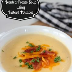Easy Loaded Potato Soup using Instant Potatoes Recipe Soups with mashed potatoes, evaporated milk, swanson chicken broth, bacon, shredded sharp cheddar cheese, onion, water