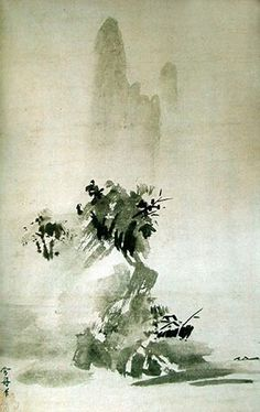 During the Muromachi period Zen Buddhism played an influential role in the development of Zen ink painting in Japan. Read more about zen ink painting in the Boundless open textbook. Japanese Ink Painting, Sumi E Painting, Japan Painting, Pintura Zen, Okayama, Kumamoto, Arte Latina, Art Occidental, Ouvrages D'art