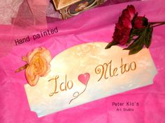 Wood Wedding Sign-Hand painted - I do ,Me too and a painted red heart. Wood Wedding Signs, Wedding In The Woods, Rustic Wood, Wooden Signs, Diy Crafts, Hand Painted, Invitations, Heart, Handmade Gifts