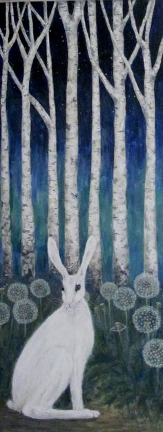 white hare - dandelions  - and silver- birch trees Lovely for a baby's room.