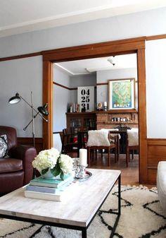 Box Frame Coffee Table + Souk Rug from West Elm via @Gilda Locicero Therapy