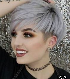 Attractive and Modern Silver Haircolor on Short Pixie Haircuts for Women to Fuel. - Short HairAttractive and Modern Silver Haircolor on Short Pixie Haircuts for Women to Fuel Your Imagination Older Women Hairstyles, Feathered Hairstyles, Hairstyles With Bangs, Braided Hairstyles, Updos Hairstyle, Everyday Hairstyles, Haircut For Fat Women, Wave Hairstyles, Beehive Hairstyle