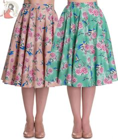 9f268537a Details about HELL BUNNY 50s swallow LACEY rose rockabilly CIRCULAR SKIRT  LATTE… 50s Skirt,