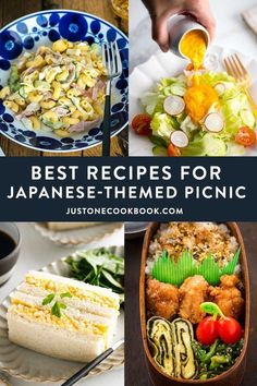 Throw a memorable Japanese-theme picnic with these super tasty and all-time favorite recipes! On the menu: Japanese macaroni salad, Japanese egg sandwich, onigiri rice ball, carrot ginger dressing, and more. #picnicfood #picnicrecipes #japanesefood | Easy Japanese Recipes at JustOneCookbook.com Easy Japanese Recipes, Asian Recipes, Japanese Snacks, Asian Foods, Bento, Picnic Dinner, Picnic Parties, Beach Picnic, Summer Picnic