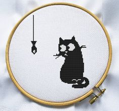 White and Black Cat Counted cross stitch pattern Instant Download by…