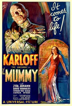 A digital reprint of the original poster for the theatrical release of The Mummy (1932). The classic horror movie stars Boris Karloff (billed as just Karloff) as Ancient Egyptian priest called Imhotep