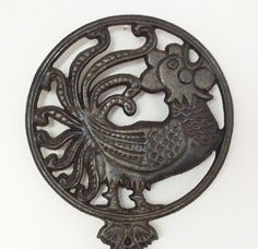 Cast iron rooster trivet Rustic home decor by indiecreativ, $9.00