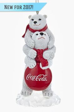 This resin figure of two sweet Coca Cola polar bears will be a fun ornament for any tree.