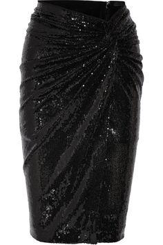 Donna Karan New York|Twist-front sequined jersey skirt|NET-A-PORTER.COM