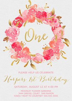 Floral 1st Birthday Invitation Garden Party Invitation Girls Garden Party Invitations, 1st Birthday Invitations,
