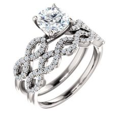 Diamond Accented, Infinity Inspired Engagement Ring with Matching Band