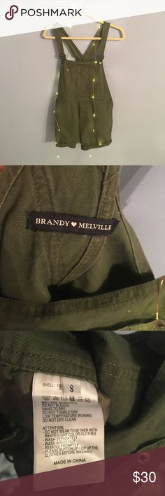 Brandy Melville Army Green overalls Worn only once!!! Perfect condition!! Brandy Melville Tops