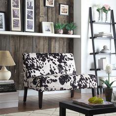 @Overstock.com - Easton Black Cow Hide Fabric 2-seater Accent Loveseat - Add an elegant flair to your room with this black living-room loveseat by Easton Collection. Designed with a durable wood frame, this sophisticated loveseat features a black-and-white, cow-hide print with an espresso finish to accent your modern decor.  http://www.overstock.com/Home-Garden/Easton-Black-Cow-Hide-Fabric-2-seater-Accent-Loveseat/8060353/product.html?CID=214117 $237.60