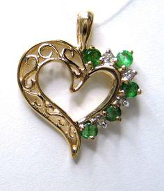 Diamond Emerald Filigree Heart Pendant .02ctw in 14kY Women's Green GV78005 #NA #Pendant