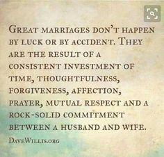Consistent investment into marriage