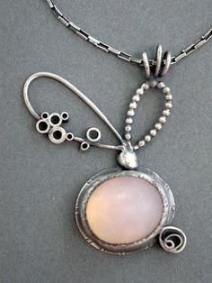 cotton candy pendant pale icy pink metalsmith by jaimejofisher