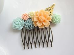 Large Peach Flower Mint Rose Grey Pompom Flower. Gold by AnnMichy, $25.00