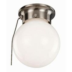 Design House 1-Light Satin Nickel with Opal Glass and Pull Chain Ceiling Light-519272 at The Home Depot