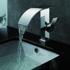 zeitgenössische Wasserfall Waschbecken Wasserhahn (verchromt)