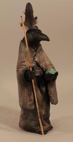 by Misha Malpica, Raven Sculpture Native American Animal Spirit